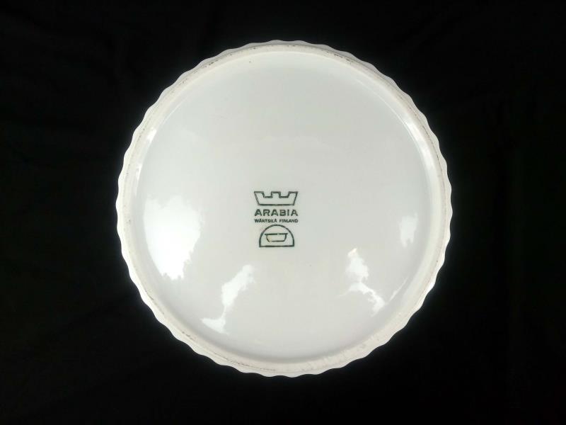 "Arabia Finland Uunikokki 8.25"" 74oz Souffle Dish Ribbed Off White Round"