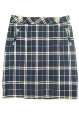 Laura Scott Women's Blue White Plaid Pencil Skirt Career Dress Size M Lined