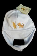 NWT Classic Pooh Infant Light Blue Fleece Hat w/ Easy Fasten Under Chin Disney