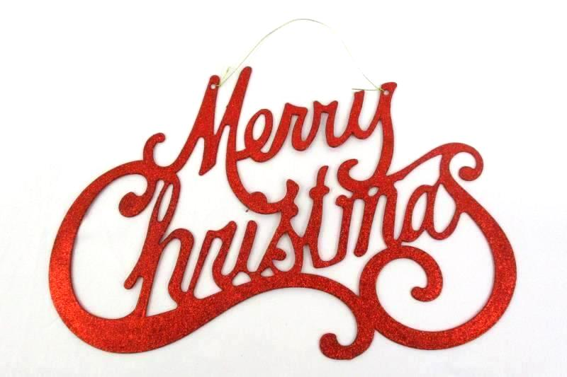 2 Red Glittery Merry Christmas Door Or Wall Hanging Signs