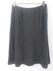 TALBOTS A-Line Skirt 100% Silk Black White Geo Print Knee Length Career Sz 6
