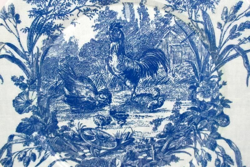 """Lacquer Ware 13"""" Blue Chicken Etoile Charger Platter"""