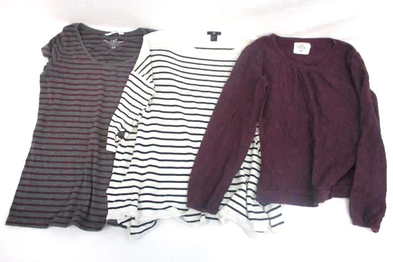 Lot of 3 Size Large H&M Shirts - 2 Striped Shirts + 1 Lace Maroon Shirt