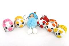 Lot of 6 Crochet Key Chains Little Piggies Red Yellow Orange Pink Blue Baby