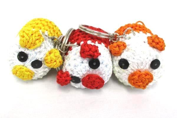 Lot of 6 Crochet Key Chains Little Piggies Red Yellow Orange Pink Blue Baby