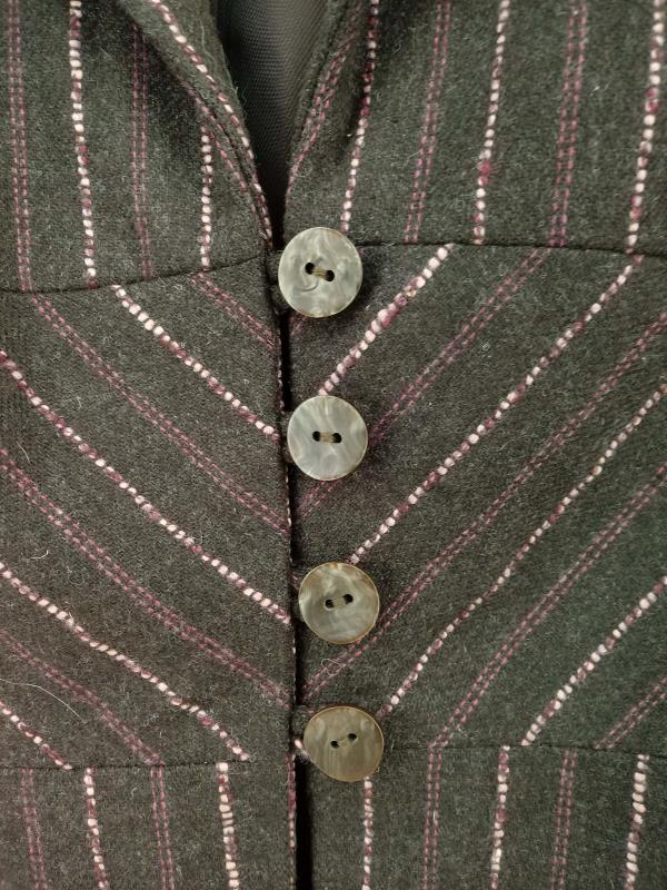 90s J JILL Blazer Jacket Brown & Pink Pinstripe Wool Blend Women's Sz 12