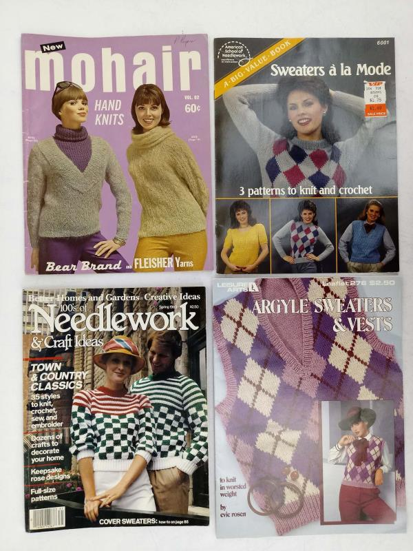 Vtg 17pc Knitting Pattern Booklet & Leaflet Lot Retro Sweaters from 60s 70s 80s