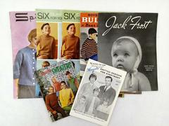 Vtg 1950s-60s KNITTING PATTERN LOT of 7pcs Children's & Family Clothing Booklets