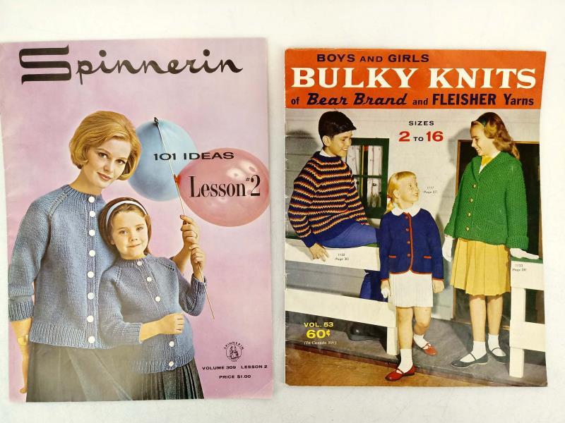 Vtg 1950s-60s KNITTING PATTERN LOT of 7pcs Children's & Family Clothing Booklets