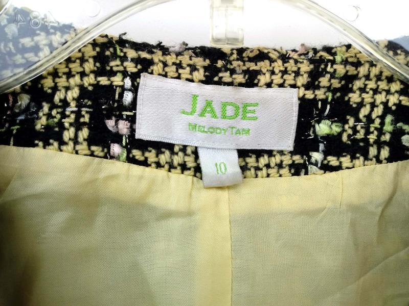 JADE MELODY TAM Crop Jacket Career Yellow Black Plaid Tweed 90s Clueless Sz 10
