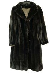 Vintage GRANDELLA II by SPORTOWNE Faux Fur Coat Knee Length Dark Brown Size 12