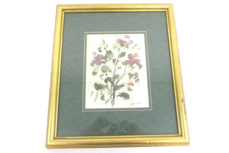 "Vintage Floral Painting Print In Gold Frame Artist Signed 12/350 18.25"" X 16.5"""