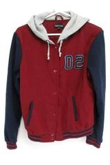 New Look Snap Button Sweatshirt Jacket Maroon Hooded Youth Boys XL