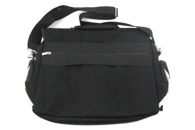 NYC East Wear Black And Orange Nylon Over The Shoulder Laptop Messenger Bag
