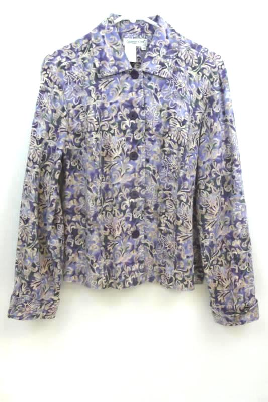 Women's Coldwater Creek Twill Button Front Jacket Purple Floral Size PS