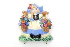 Vintage Dutch Girl Chalkware Hanging Key Or Pot Holder Rack