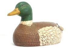 Large Handmade Ceramic Mallard Duck Decoy Figure Brown Green