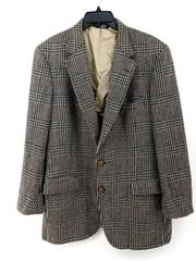 Vtg BARRISTER for BASKIN Plaid Houndstooth Wool Sport Jacket Men's L/XL