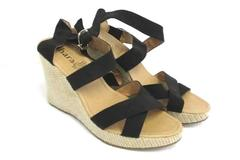 Platform Wedge Sandals Heels Calzago Ahara Strappy Black Buckle Womens 7