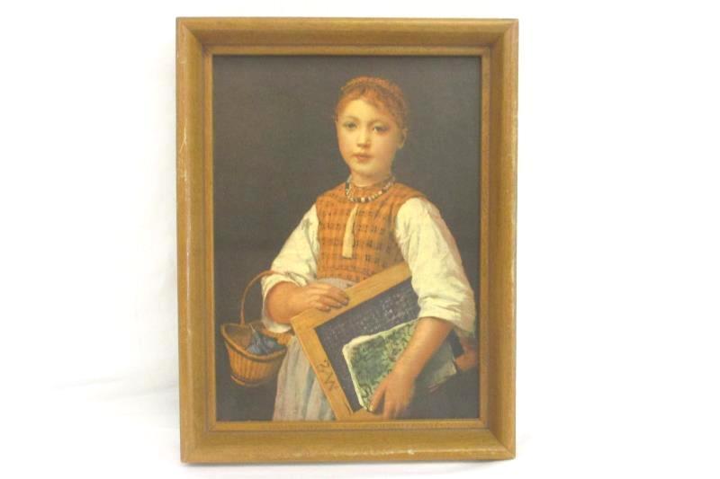 "8"" Vintage 1875 Albert Anker School Girl Portrait In A Wood Frame Reprint"