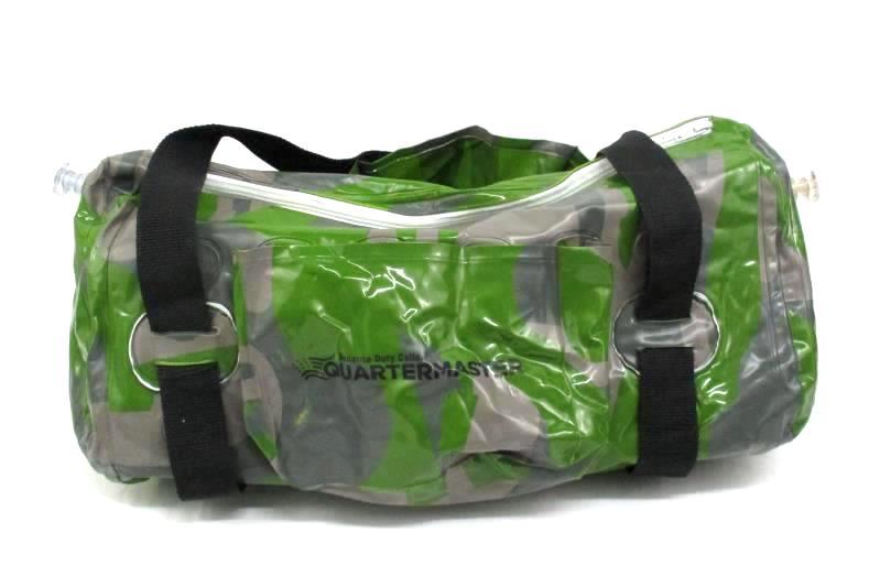 Quartermaster Green Camo Plastic Inflatable Duffel Bag With Handles