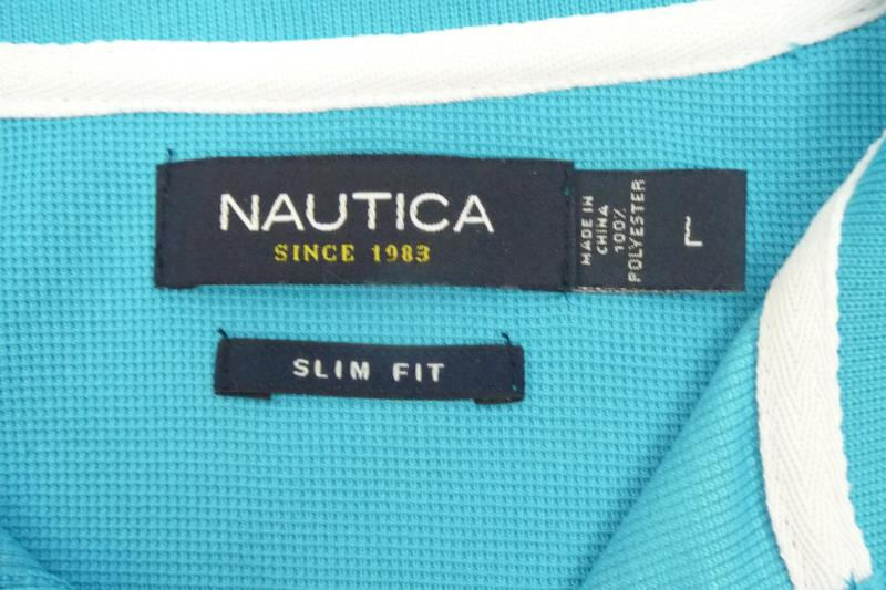 Nautica Men's Slim Fit Turquoise White 1/4 Button Polo Short Sleeves Size L