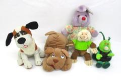 Lot Of 5 Plush Stuffed Animals Toys Dogs, Bug, Rabbit, Monkey
