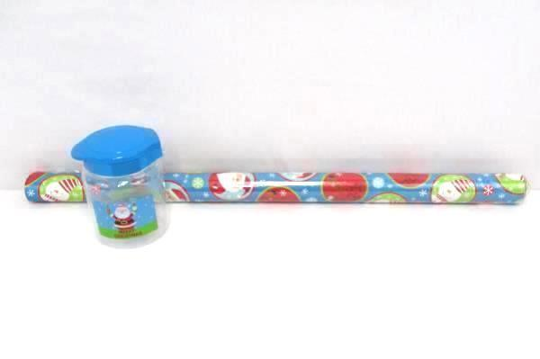 Matching Christmas Blue Snowman Reindeer Santa Wrapping Paper Merry Jar