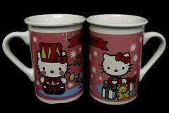 Set of 2 Sanrio Hello Kitty 2013 Christmas Mugs White Pink Snowflakes Presents