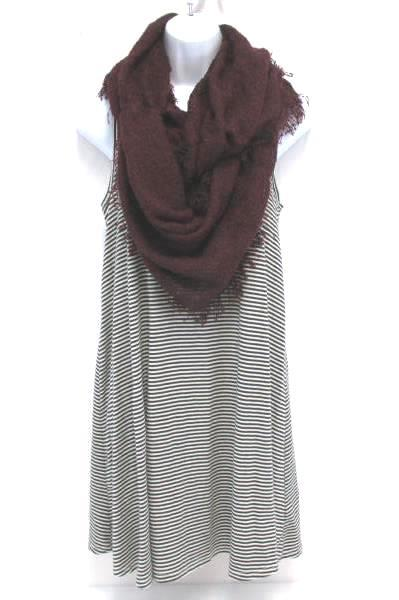 Women's Sleeveless Black White Striped Mini Dress Mossimo M Infinity Scarf