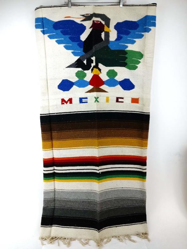 "Vtge Mexico Blanket Woven Saltillo Serape Style Rug Eagle and Snake 80"" x 50"""