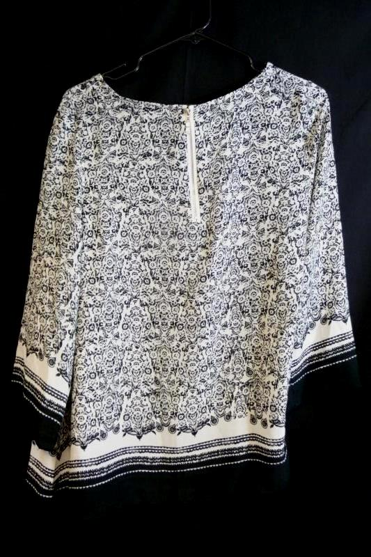 Rose & Olive Women's Blouse Black & White Floral Zip Back 3/4 Sleeve Size S