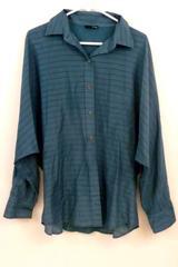 Hurley Women's Size M Long Sleeve Silk Blend Blue Button Down Shirt Blouse