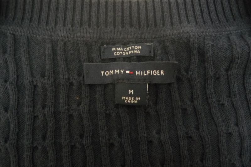 Tommy Hilfiger Women's Cable Knit Sweater Navy Blue V-Neck Pima Cotton Size M