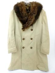 Vtg 70s ZERO KING Double Breasted Coat REAL FOX FUR COLLAR Faux Lining Khaki 38R