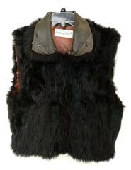 ANDREW MARC Craft Cutter Plush Opossum Real Fur Vest Sz Medium