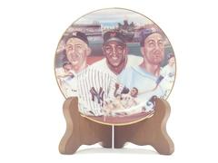 """Mickey, Willie, and the Duke"" Collectible Plate w/stand by Robert S. Simon 1986"
