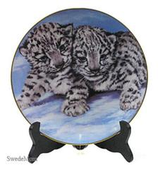 Snow Baby Snow Leopard Violet Parkhurst Painting LE # Collector Plate