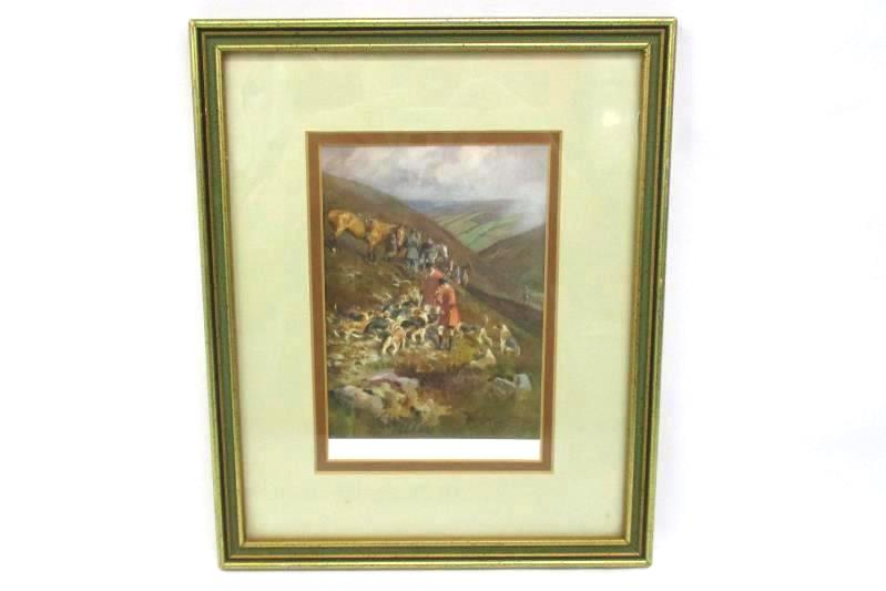 1920's A Hill Fox By Lionel Edwards Framed Fox Hunting W/ Dogs And Horses Print