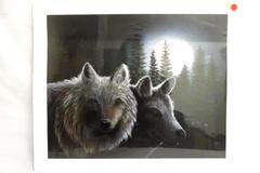 """Canvas Print Of Two Wolves At Night By Betsy Pop Multi-Color 19.25 by 24"""""""