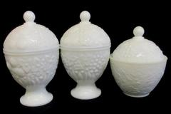 Lot of 3 White Avon Glass Lidded Candy Dishes Oval Shaped