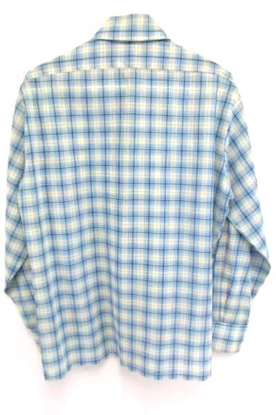 Vintage JCPenneys Blue Plaid Long Sleeve Tapered No Iron Button Shirt Men's M