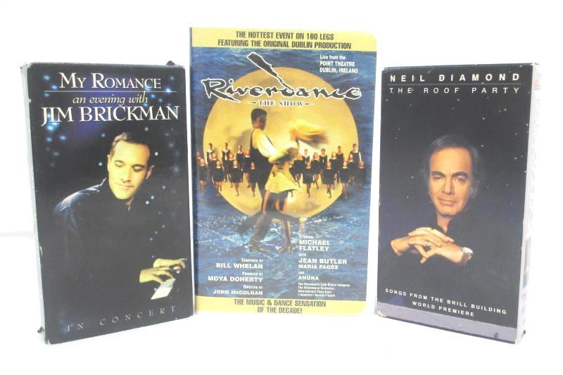 Lot of 3 Music VHS Tapes: Neil Diamond Roof Party, Riverdance, Jim Brickman