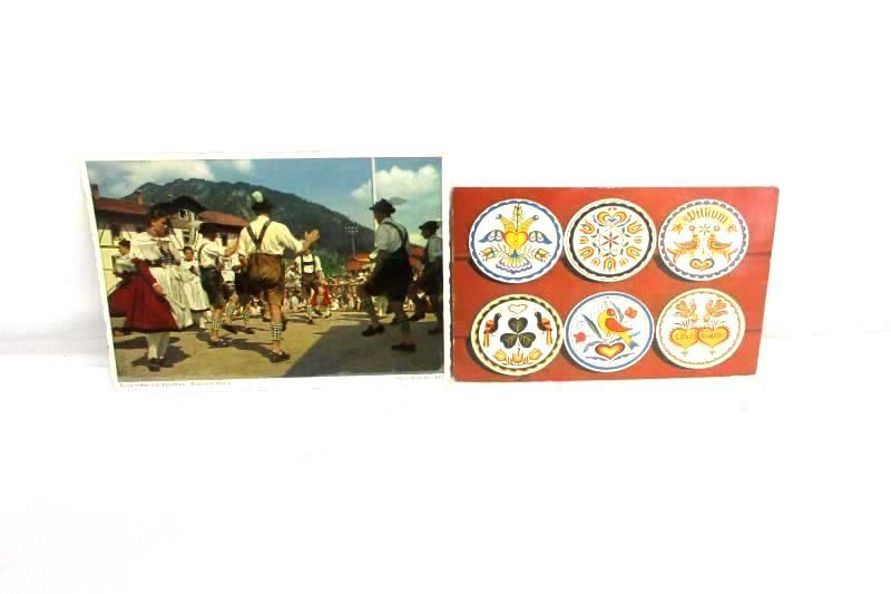 Lot of 2 Vintage Scandinavian Bavarian Postcards RPPC