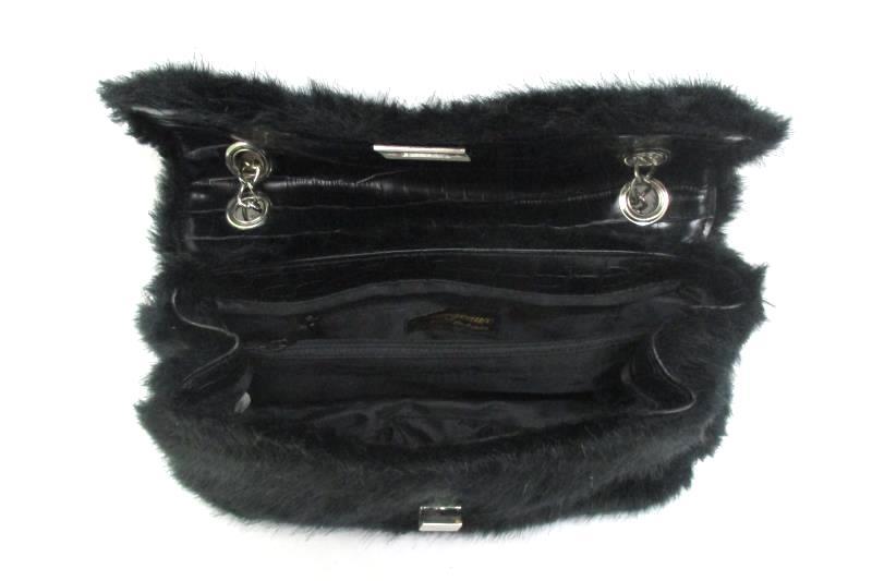 Black d'margeaux Faux Fur And Vinyl Over The Shoulder Purse
