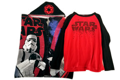 Lot of 2 Star Wars Items: Boy's Long Sleeve T-Shirt Size M + Hooded Bath Towel