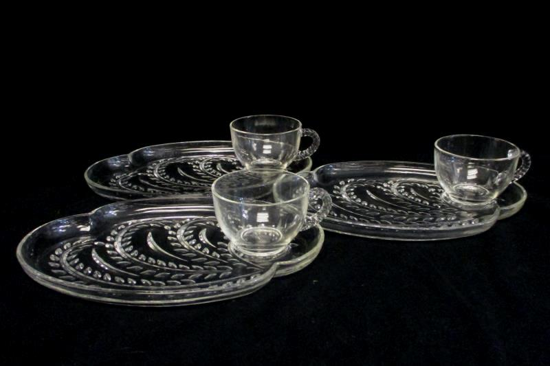 Set of 3 Vintage Federal Glass Homestead Snack Plates w/ Cups Mid-Century Modern