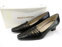Vtg NATURALIZER Point Toe Heels Black Leather Lattice & Buckle Y2K Size 8S
