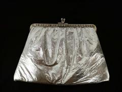 VTg Silver Vinyl Clutch Rhinestone Frame Bag Kiss Lock Purse