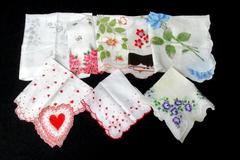 8 Vintage Women's White Cotton Floral Design Handkerchiefs